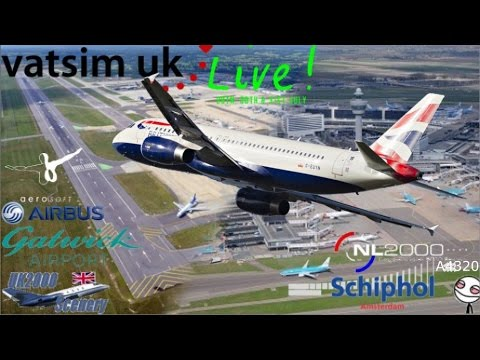 Vatsim UK live - Amsterdam to Gatwick in Aerosoft A320