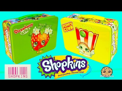 Shopkins Lunch Box Tins With Collector Cards & 2 Surprise Blind Bags - Cookieswirlc