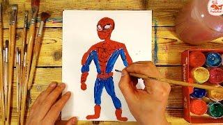 Как нарисовать ЧЕЛОВЕКА ПАУКА красками / урок рисования для детей