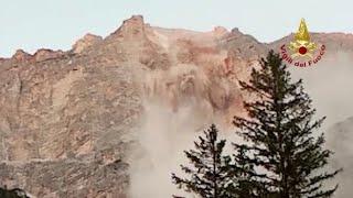 San Vito di Cadore, il video della frana: la roccia si stacca dal Sorapis