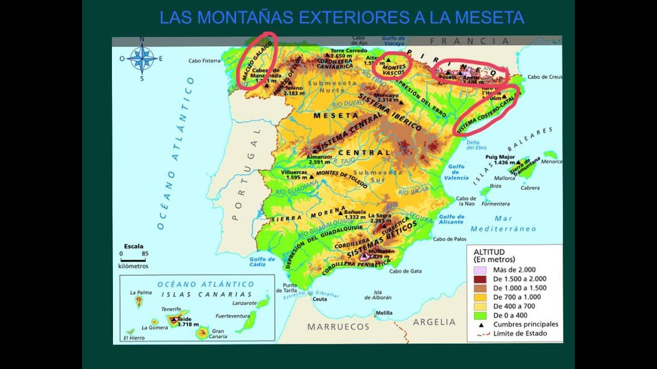 Mapa Relieve De España.El Relieve De Espana