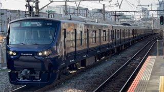 相鉄12000系12101編成(トップナンバー)が新川崎を高速通過するシーン