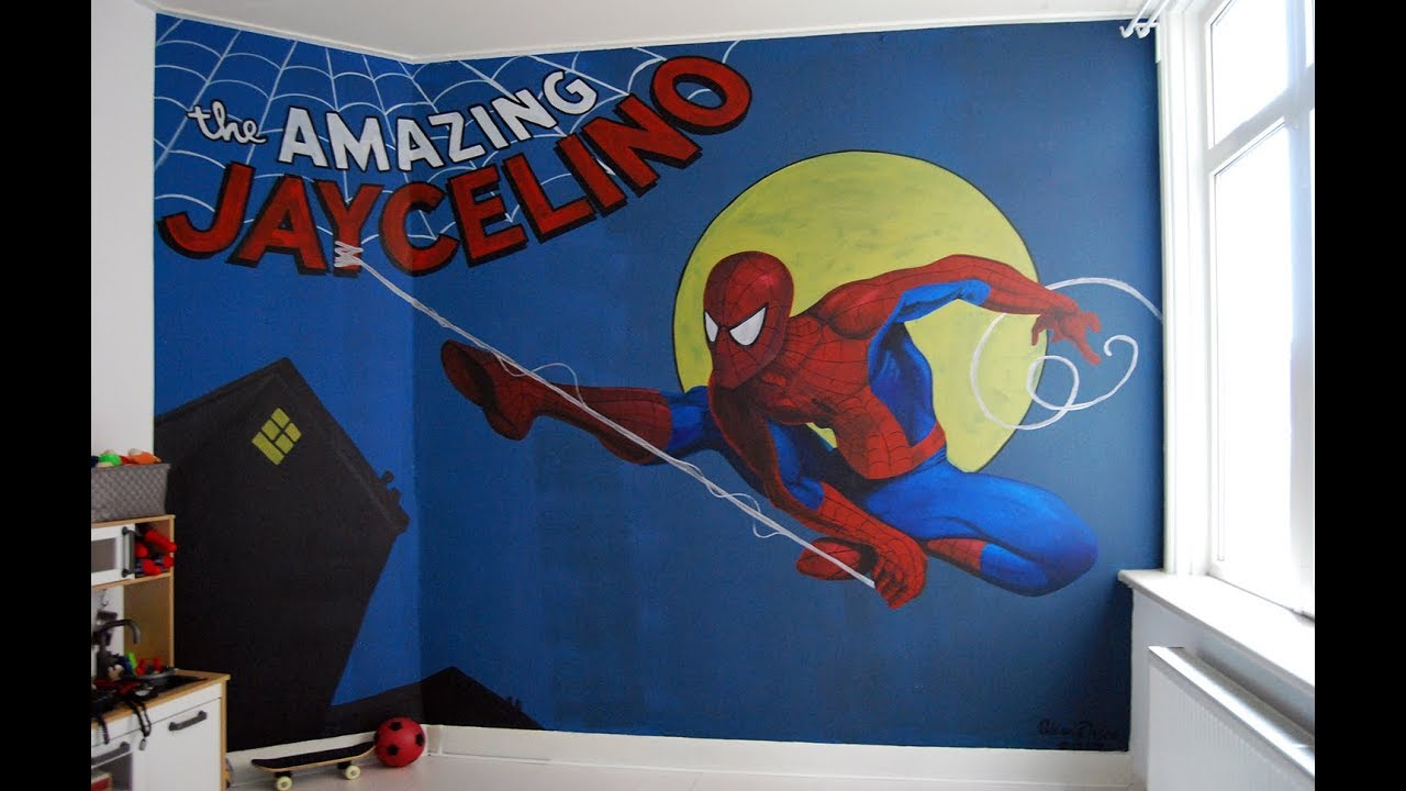 Bedroom wall painting spiderman youtube bedroom wall painting spiderman amipublicfo Choice Image
