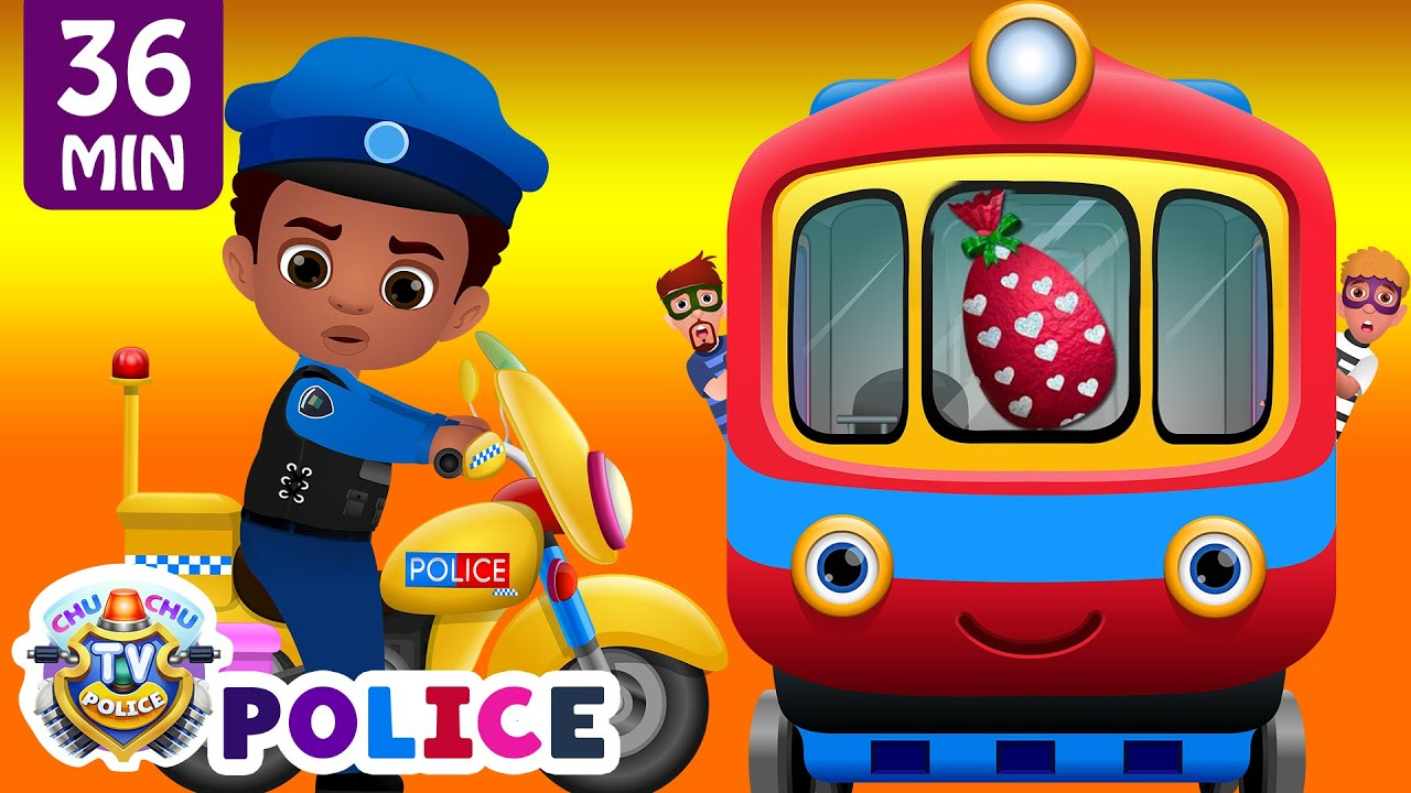 ChuChu TV Police Chase Thief in Police Car to Save Huge Surprise Egg Toys Gifts – The Train Escape #1