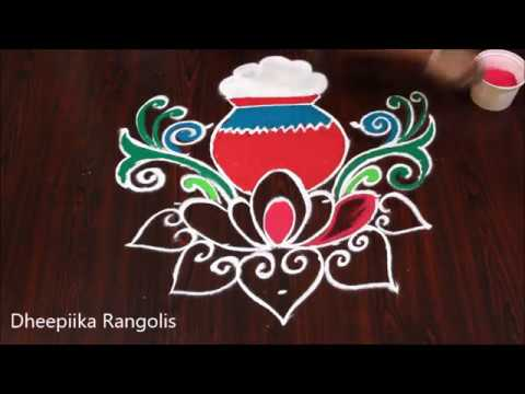 pongal special pot rangoli with 7-1 dots * bhogi special muggulu * sankranthi muggulu