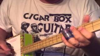 Pretty little 3-string riff for cigar box guitar - by Shane Speal - how to play cigar box guitar