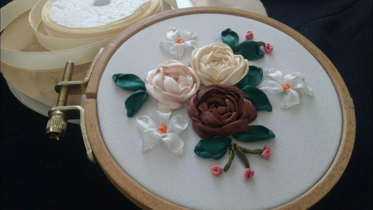 40-DIY Mini rosa ribbon Embroidery techniques/ribbon flowers