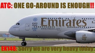 A380 Emirates [Right of weight] B737 Go Around [ATC: one Go Around is enough]