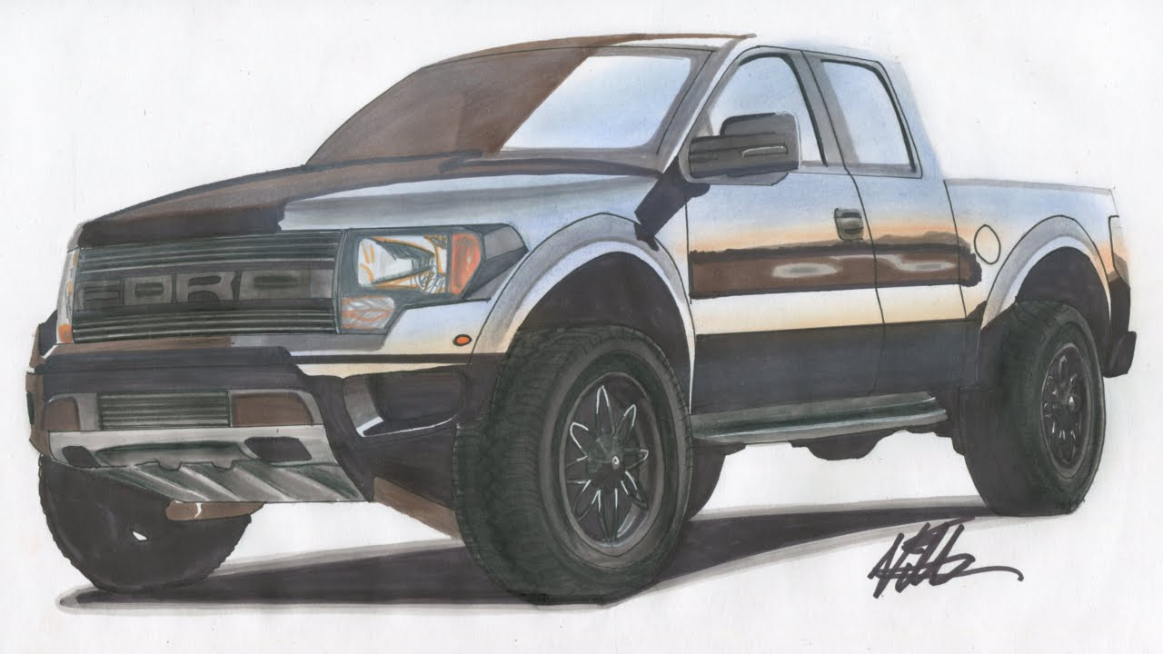 2015 Ford F-150 SVT Raptor Drawing - Time Lapse - YouTube