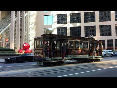 California Street Cable Car 51 @ California St & Front St San Francisco California (Slow Motion)