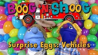 Surprise Eggs: Vehicles: Firetruck, Race Car, Bicycle: Boog