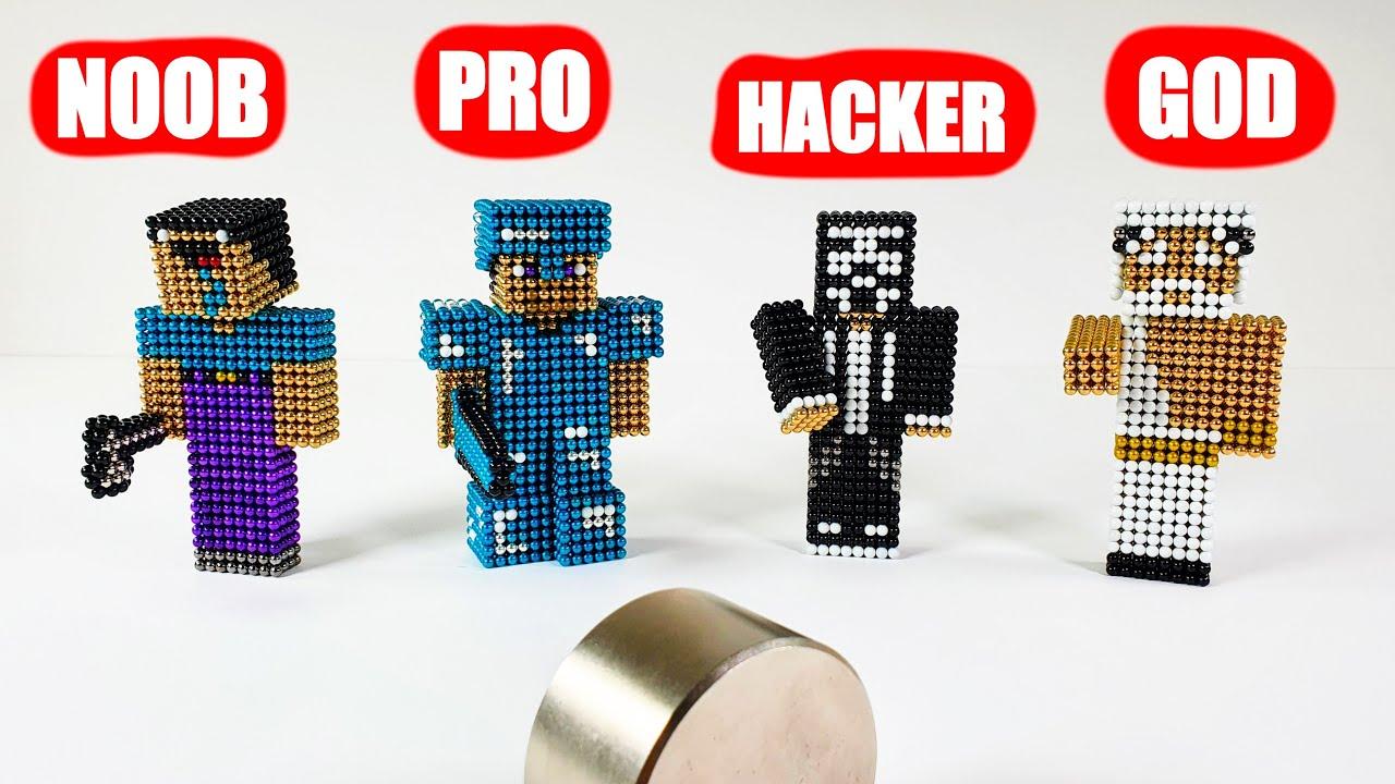 Minecraft NOOB vs PRO vs HACKER vs GOD : How to fight monster magnets 자석 마인크래프트 초보 vs 프로 vs 해커 vs 신