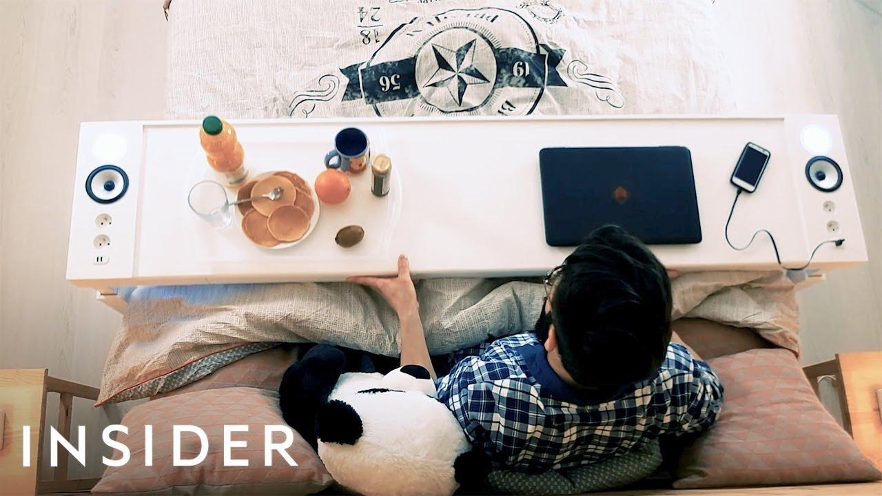 Преносна маса која ви овозможува да јадете и работите во кревет
