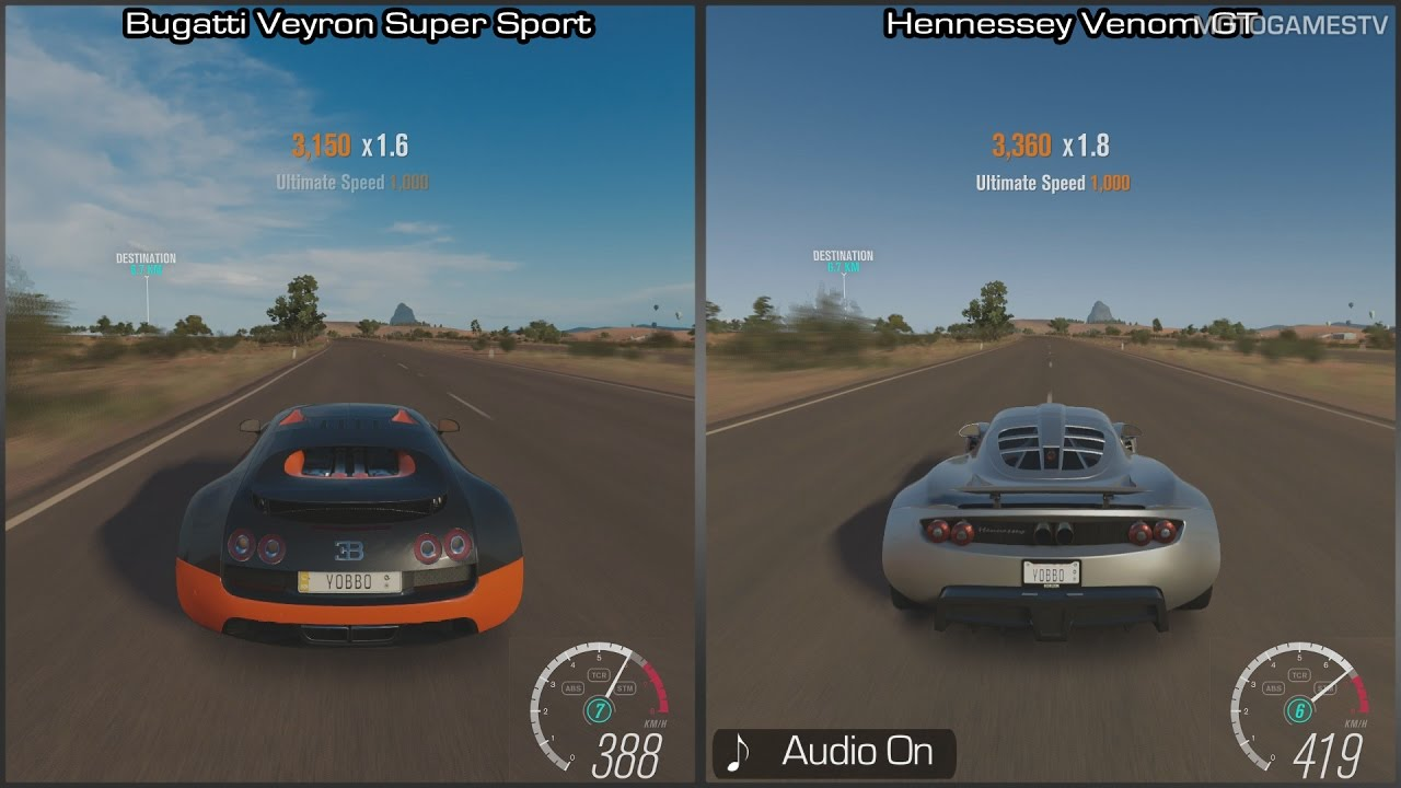 forza horizon 3 bugatti veyron super sport vs hennessey venom gt speed comparison. Black Bedroom Furniture Sets. Home Design Ideas
