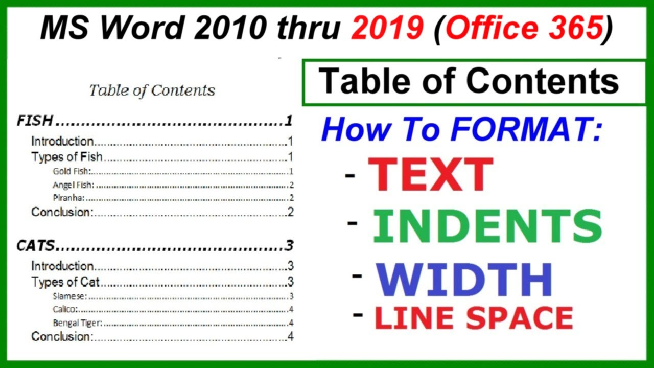 word 2016  2013  u0026 2010 - table of contents - format
