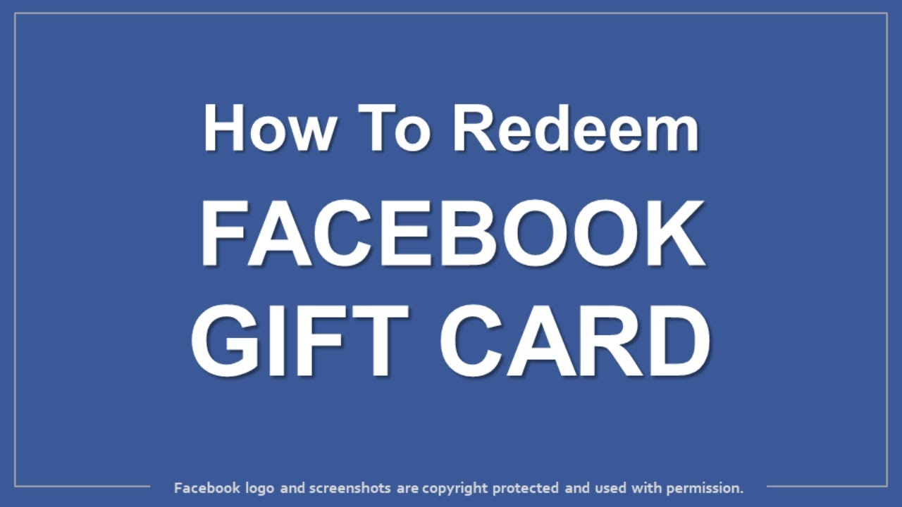 How to redeem facebook gift card youtube how to redeem facebook gift card negle Gallery