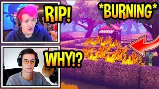 "Streamers React To ""WAILING WOODS"" *BURNING* DOWN In Fortnite! *RIP* Fortnite Moments"