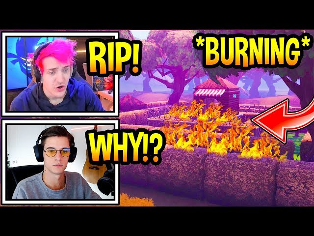 """Streamers React To """"WAILING WOODS"""" *BURNING* DOWN In Fortnite! *RIP* Fortnite Moments"""