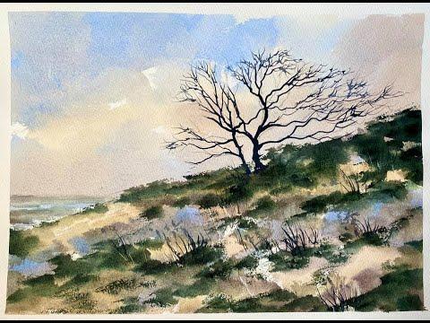 Paint A Beautiful Beginners Watercolour Moorland Scene, Simple Loose Watercolor Landscape Tutorial