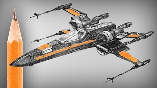 Star Wars: X wing (new type) pencil drawing