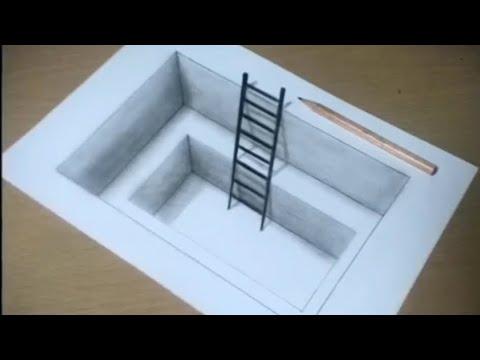 Illusion D Optique échelle Dans Un Trou Dessin 3d Youtube