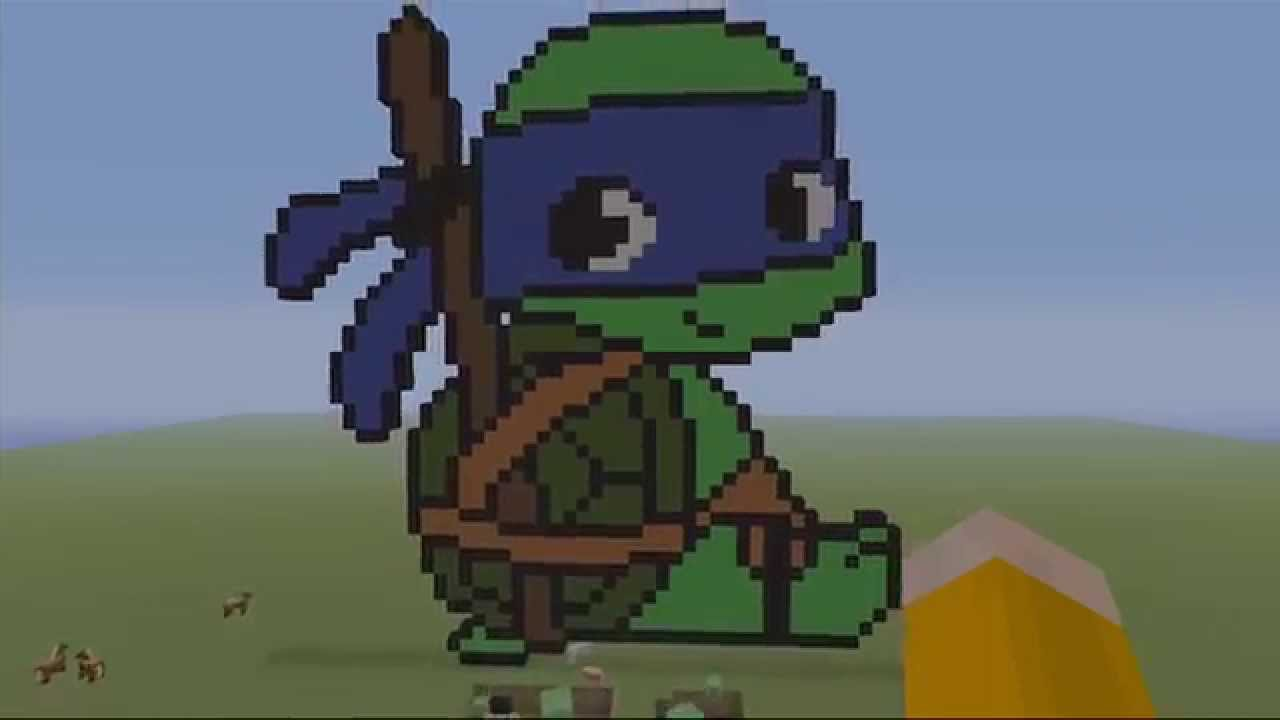 Attractive Teenage Mutant Ninja Turtles TMNT MINECRAFT PIXEL Art  Baby Leonardo    YouTube