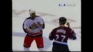 Jean-Luc Grand-Pierre ( Columbus Blue Jackets ) drops Scott Parker ...