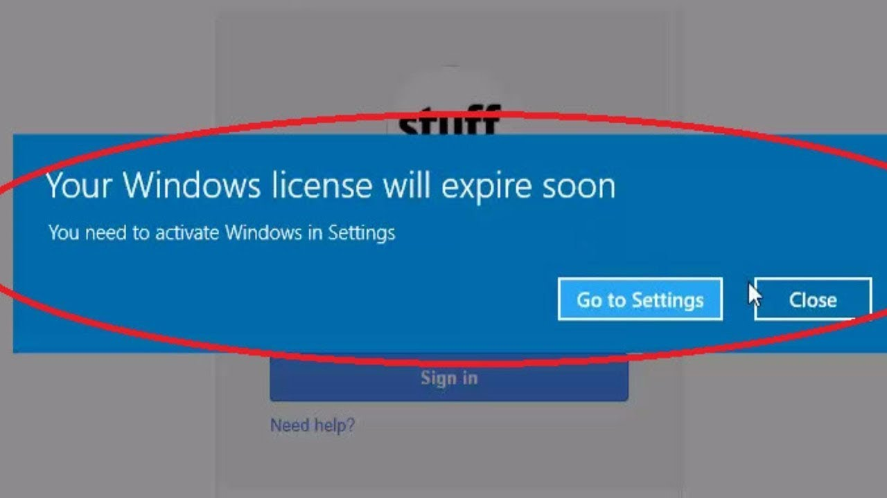 windows license expires