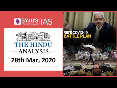 'The Hindu' Analysis For 28th March, 2020. (Current Affairs For UPSC/IAS)