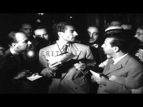 Shah Mohammad Reza Pahlavi in Rome, Italy. Mossadegh flees Iran riots. Shah prepa...HD Stock Footage