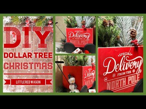 Dollar Tree DIY Christmas Little Red Wagon - Farmhouse Christmas Decor Ideas 2019 - Easy Craft