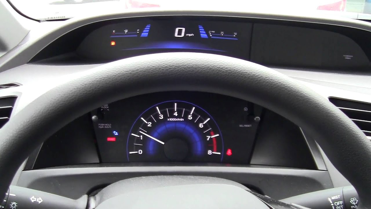 2012 Honda Civic LX 5 Speed Manual Starting Up. Interior Dash And Cluster  View   YouTube