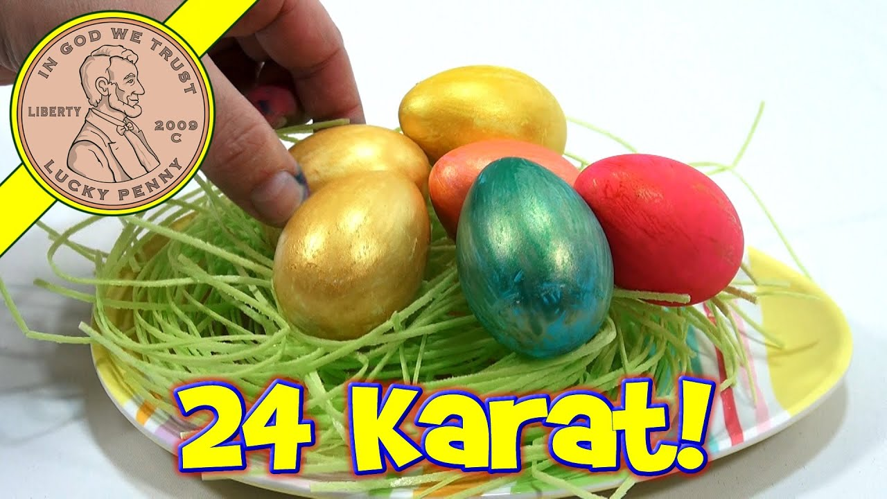 24 Karat Golden Easter Egg Coloring Kit & Plastic Easter Eggs! - YouTube