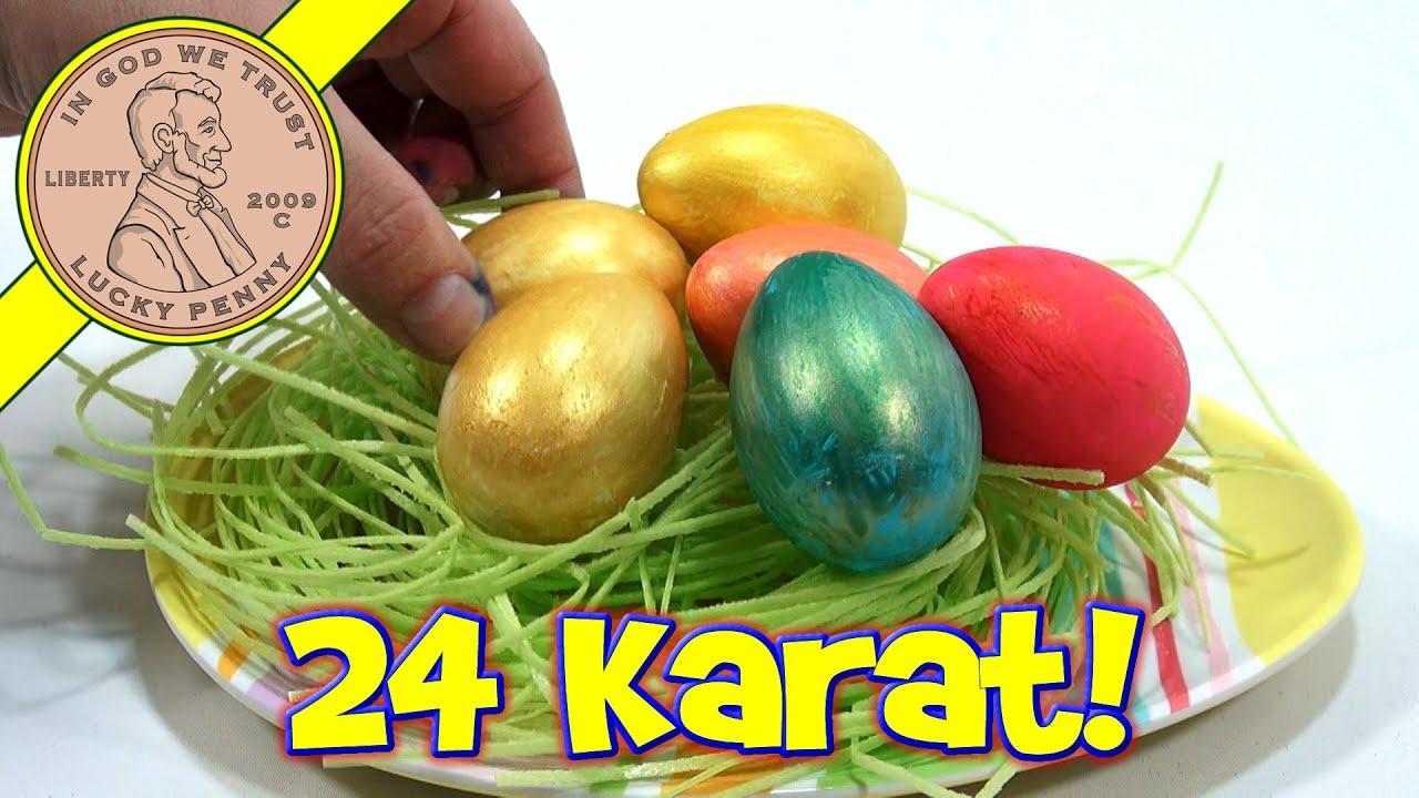 24 Karat Golden Easter Egg Coloring Kit Plastic Easter Eggs Youtube