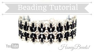 Black Tulips Bracelet Beading Tutorial by HoneyBeads1 (with superduo beads)
