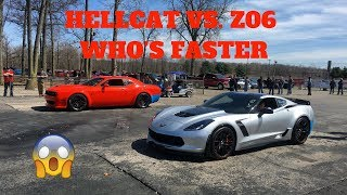 HELLCAT VS. CORVETTE Z06 RACING AT THE TRACK!