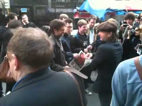 Thom Yorke @rough trade east handing out Universal Sigh