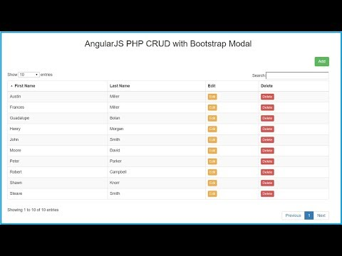AngularJS PHP CRUD (Create, Read, Update, Delete) using