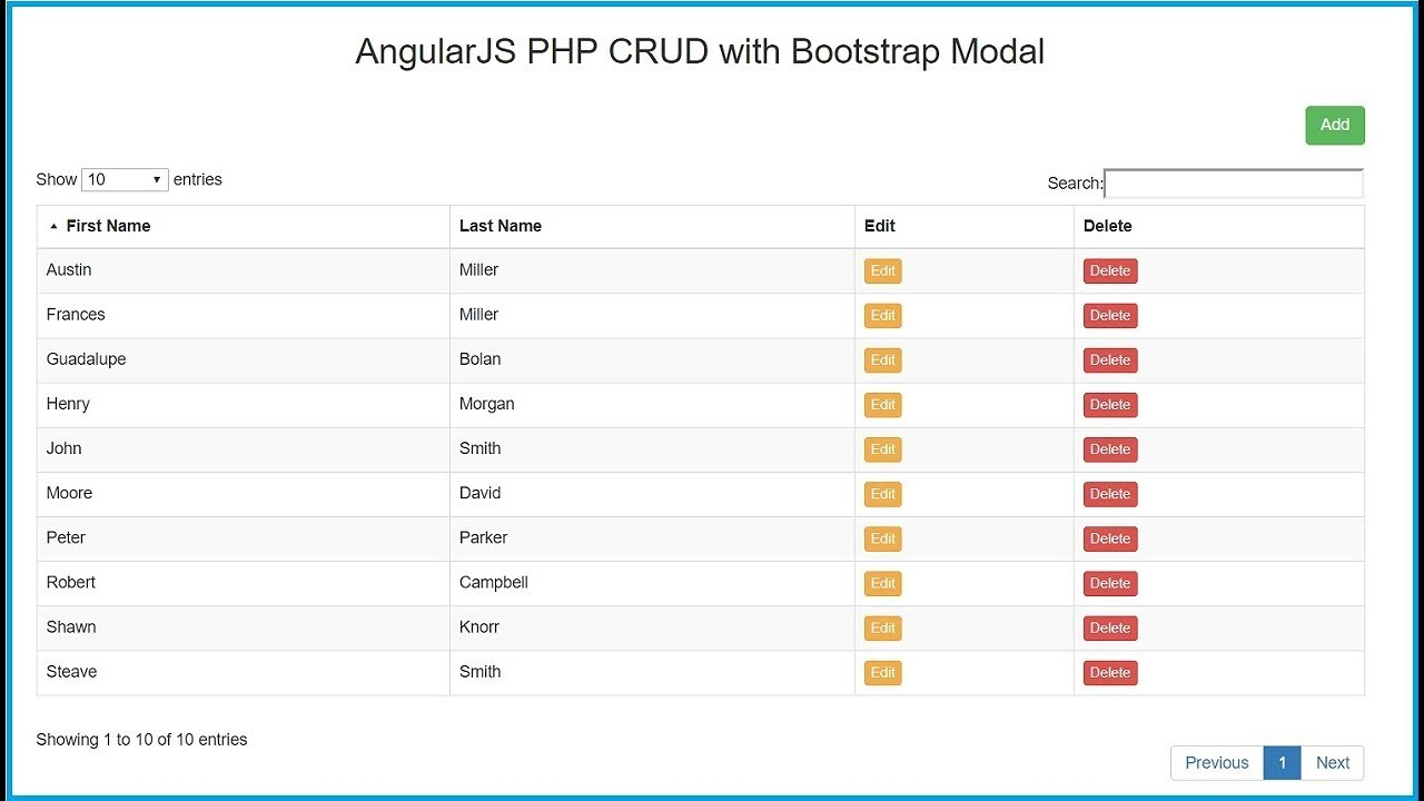 AngularJS PHP CRUD (Create, Read, Update, Delete) using Bootstrap