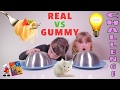 REAL VS GUMMY FOOD CHALLENGE • Trucs réels VS Bonbons - Studio Bubble Tea
