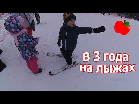 Клим учится кататься на лыжах, как это было / Лесная Сказка Алматы