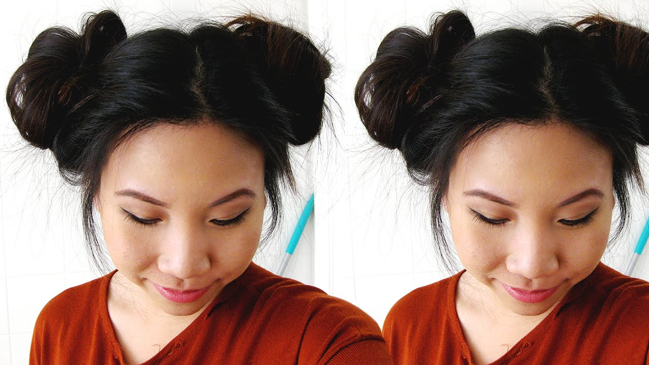 Easy two messy side buns hairstyle tutorial sheri nguyen youtube