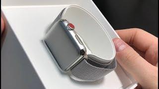Apple Watch Series 3 LTE стальные С КРАСНОЙ КНОПОЧКОЙ