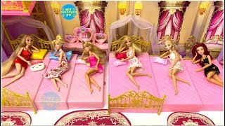 Morning routine 6 princesses Barbie castle! Prinzessin Morgen Chambre de princesse tidur putri