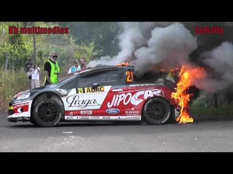 WRC Adac Rally Deutschland 2012 - Martin Prokop's Car On Fire