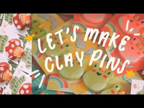 STUDIO VLOG 03 | How I Make Clay Pins! (Handmade Pin Tutorial ☻)