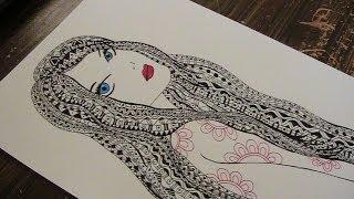 zentangle - zentangle drawing with pattern - doodle girl