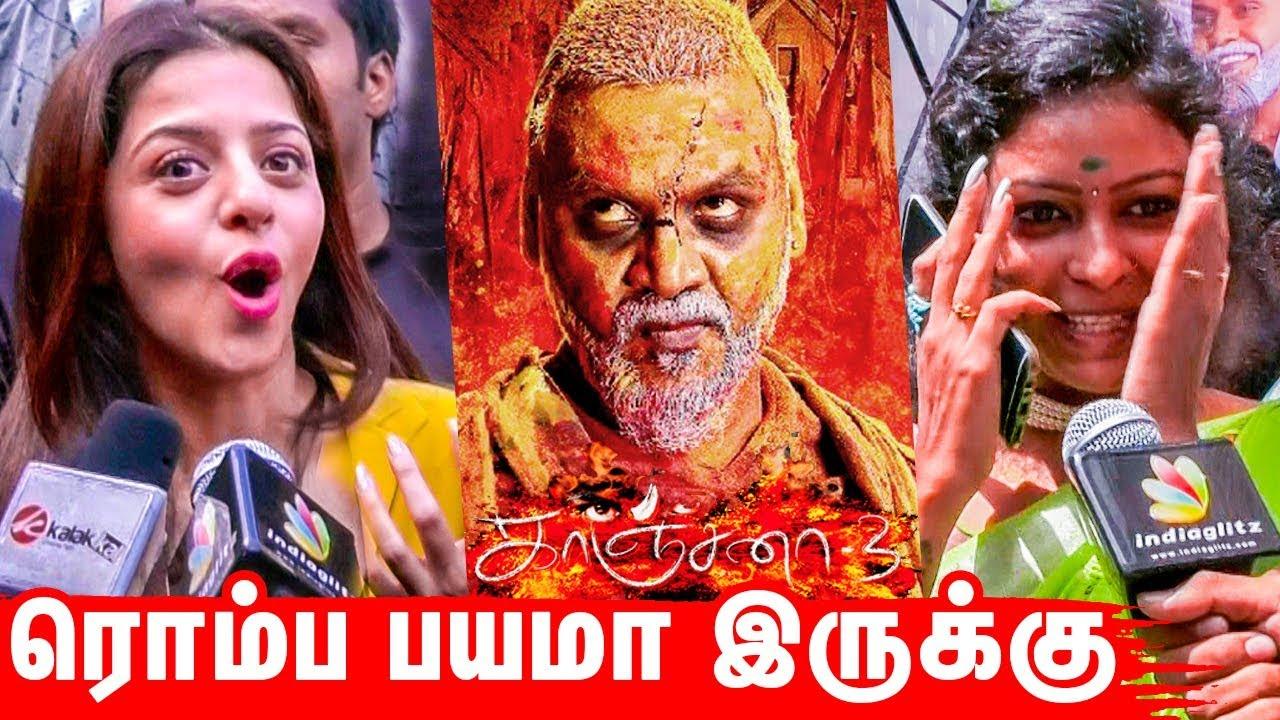 OMG 😱 Highly Scary !   Kanchana 3 Public Reaction Review   Raghava Lawrence, Vedhika, Oviya