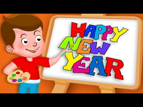 Drawing Happy New Year Drawing Paint And Colouring For Kids | Kids Drawing TV