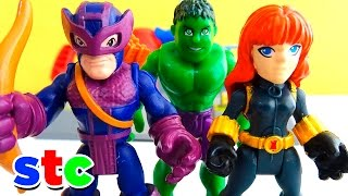 Super Hero Adventures Black Widow y Hawkeye vs Ironman y Hulk